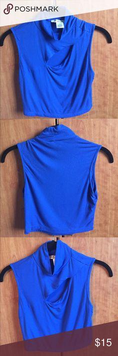 Turtle Neck Crop Top Cobalt blue crop top. Lose turtle neck with slit across chest. Worn once & got lots of compliments. Arden B Tops Crop Tops