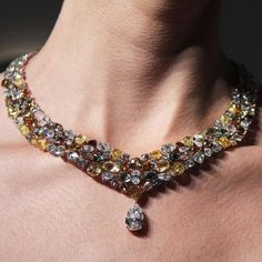 De Beers Soothing Lotus rough and cut diamond necklace