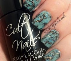 Nail Art How To: The Step-by-Step Picture Guide to Creating these fabulous foiled Turquoise Marbled Nails by IG@workinggirlnails. | Nail Tutorial, Marbled Nails, Turquoise Stone Nails, WorkingGirlNails, OPI, China Glaze, Cult Nails, Sally Hansen, Rica etsy | Nail It! Magazine