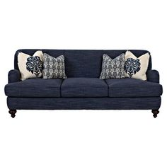 A timeless addition to your living room or den, this lovely sofa features bun feet and tonal navy upholstery.     Product: Sof...