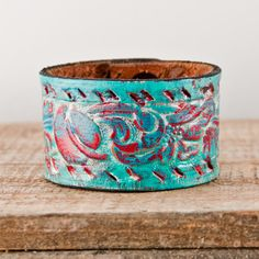 Turquoise Jewelry Tooled Leather Cuffs Handmade Bracelets