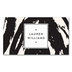 Elegant and Abstract Black Brushstrokes Business Card Template
