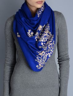 Buy Blue Gota Patti Cashmere Wool Stole Accessories Scarves & Stoles Glimmering Wraps Hand Embellished Online at Jaypore.com Indian Attire, Indian Wear, Indian Fabric, Ethnic Outfits, Western Dresses, Cashmere Wool, Scarf Styles, Creations, Style Inspiration