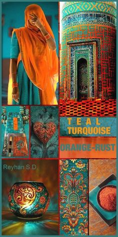 Daring color and design inspiration. Teal, Turquoise, Orange and Rust color palette by Reyhan S. Orange Et Turquoise, Deco Turquoise, Teal Coral, Blue Orange, Turquoise Room, Rust Orange, Interior Paint Colors, Gray Interior, Interior Painting