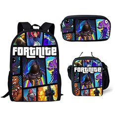 48622712dbad Buy MOREFUN Fortnite Game School Backpack Boys Girls School Book Bag Set Insulated  Lunch Bag Pencil Case Travel Daypack (F1444) online