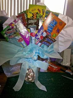 Diaper Raffle Prize, Large candy bouquet. If you want to spend more money you can add more candy, maybe a movie or 2 and some popcorn.