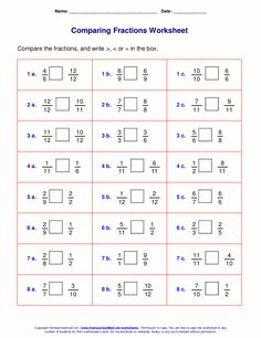Comparing Fractions Worksheets for Grade 4 Math Fractions Worksheets, 4th Grade Math Worksheets, Free Kindergarten Worksheets, Free Worksheets, Ordering Fractions, Comparing Fractions, Grade 6 Math, Grade 2, Reading Comprehension Worksheets