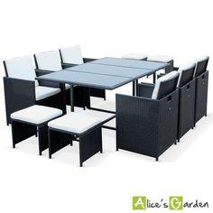Salon DE Jardin Berceto Noir Table EN Résine Tressée 6 À 10 Places Fauteuils EN | eBay