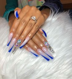 "💎""Lavishly Touched By Tee"" 💎 on Instagram: ""Had fun doing this set,it took a long time but it was worth it. Did double tips for the first time. 💙😍💎 #longnails #explore #doubletipnails…"" Drip Nails, Aycrlic Nails, Glam Nails, Bling Nails, Cute Nails, Pretty Nails, Hair And Nails, Fabulous Nails, Gorgeous Nails"