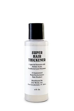SUPER HAIR THICKENER by Life Works. $6.84. SUPER HAIR THICKENER transforms fine hair into thicker, fuller hair. With building blocks of protein, it textures fine hair, repairs split ends, and normalizes problem hair. A guaranteed peak performance hair product.