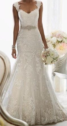 The Perfect Wedding Dress For The Bride Perfect Wedding Dress, Dream Wedding Dresses, Wedding Dress Styles, Wedding Attire, Bridal Dresses, Wedding Gowns, Bridesmaid Dresses, Wedding Dresses With Straps, Lace Weddings