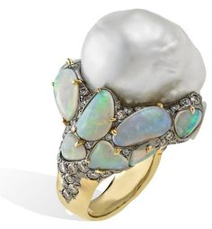 South Sea baroque pearl and opal ring, set in titanium and gold, Arunashi