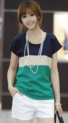 Green Bat Short Sleeve Loose Thin Chiffon T-Shirt Petite T Shirts, Latest Fashion Clothes, Fashion Outfits, Color Combinations For Clothes, Summer Outfits, Casual Outfits, Green Shorts, White Shorts, Event Dresses