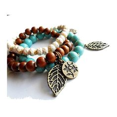 Boho Beaded Stretch Bracelet Set, Brown Wood, Turquoise Stone, Leaf... ($31) ❤ liked on Polyvore