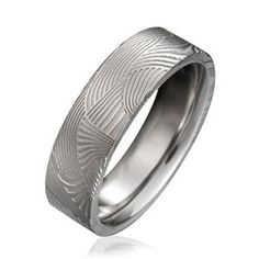 CHRIS PLOOF Plain Damacus Steel Mens Wedding bands DS-PALMS
