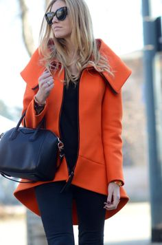 59f0864e6d748 Cat eye sunglasses with a colour pop orange coat and Prada bag   Fashion  yumminess. Geneen Green