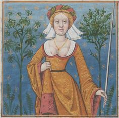 It's About Time: Illuminated Manuscripts - Flora, courtesan, goddess of flowers and wife of Zephyr - French BnF 599 fol. I LOVE the background. Medieval World, Medieval Art, Medieval Manuscript, Illuminated Manuscript, Middle Age Fashion, Medieval Paintings, Landsknecht, Wars Of The Roses, Cosplay Anime