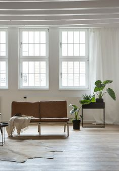 large open living room with the minimal Ferm Living plant box and green plants - how to display green plants in the living room