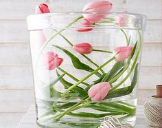Beautiful floral arrangement of tulips that is unique. Arrange tulips across in a large vase or bowl, carefully bending the stems. Make sure that the stems are covered with water. Spring Flower Arrangements, Spring Flowers, Floral Arrangements, Deco Floral, Arte Floral, Tulips Images, Deco Nature, Little Gardens, Ikebana