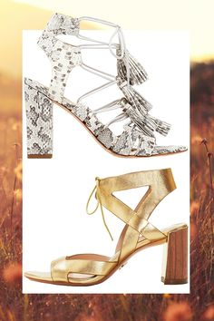 Snakeskin Lace-Up Sandal with Tassels, LOEFFLER RANDALL, $450; Gold Sandal with Tie Closure and Wooden Heel, POUR LA VICTOIRE, $265   - Cosmopolitan.com