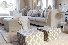 DIY Ottoman or floor pouf made from mattress samples! Did you know furniture/mattress stores practically give these away??