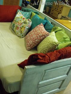 Daybed frame made with 3 doors At Home With K: DIY Door Couch twin bed mattress