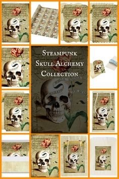 Steampunk Skull Alchemy Collection for Halloween Victorian style
