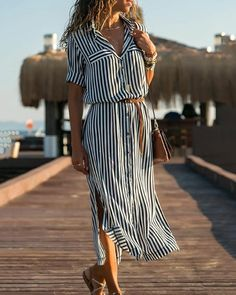 2020 Turn Down Collar Office Ladies Stripe Shirt Dress Long Boho Beach Dress Casual Long Sleeve Elegant Party Dress Vestidos Striped Shirt Dress, Long Shirt Dress, Maxi Dress With Sleeves, Maxi Dresses, Summer Dresses With Sleeves, Beach Wear Dresses, Striped Maxi, Vacation Dresses, Linen Dresses