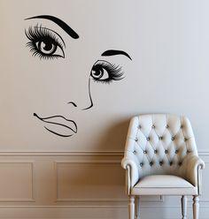 Hairdressing Hair Shop Wall Decals Beauty Salon Vinyl Wall Sticker Removable Women Long Lashes Home Decoration Wall Mural Nail Salon Decor, Beauty Salon Decor, Fond Design, Design Design, House Design, Mothers Day Drawings, Vinyl Wall Stickers, Wall Vinyl, Makeup Salon