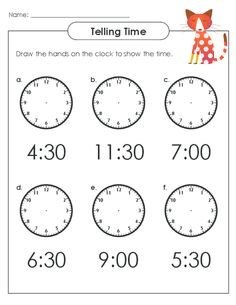 Draw the correct minute and hour hands for the given digital time! #freeworksheets #tellingtime #tellingtimepractice #printableclocks