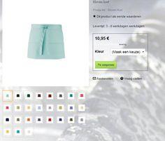 Sloof kort Sloof kort met zakken (pen/boekje) Materiaal : 65 %  polyester en 35% katoen. Formaat : 60 cm x 33 cm.