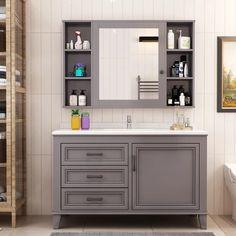 grey bathroom vanity cabinet with mirror cabinet, white nature marble top Bathroom Table, Modern Bathroom Cabinets, Grey Bathroom Vanity, Mirror Cabinets, Glass Bathroom, Grey Bathrooms, Bathroom Sets, Wash Basin Cabinet, Washbasin Design