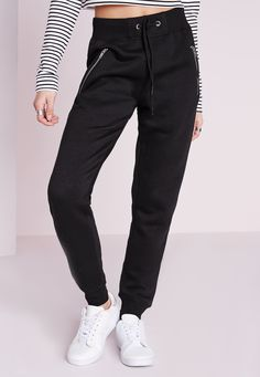 Missguided - Zip Detail Joggers Black