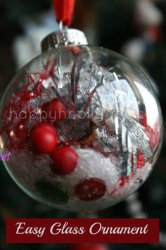 Fill a clear glass or plastic ornament with crafty odds and ends for a pretty Christmas ornament to hang on the tree. Great fine motor activity for toddlers and preschoolers, but older kids will love this easy Christmas craft as well. Glass Christmas Balls, Christmas Ornaments To Make, Noel Christmas, Simple Christmas, Christmas Gifts, Christmas Decorations, Family Christmas, Christmas Traditions, Christmas Math
