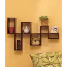 Wooden Walnut Modular Wall Organizing Shelf Storage great way to showcase memorabilia or decor accents from blog: Home Decor AccentDesigner Home Décor by Susan