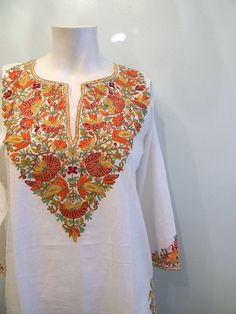 vintage. White Cotton Indian Tunic  with Silk Embroidery / S M L. $62.25, via Etsy.
