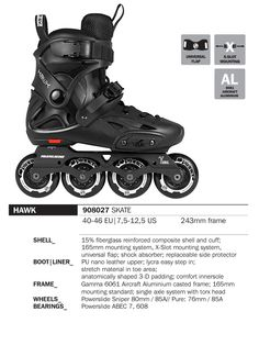 Powerslide Hawk Imperial men's freestyle skate - Not everyone needs a top-end competition skate. With the respectable build quality and specs of a mid-range freestyle skate at the price of a fitness/rec. skate, the Hawk Imperial punches well above its weight. Why take risks with dodgy freestyle skate brands with this attractively priced skate from a major European? $299, now with 10% off at $269.10