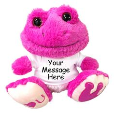 "Personalized Stuffed Frog - 10"" Pink Taddle Toes Love Frog"