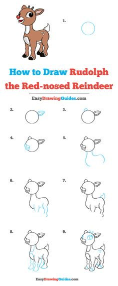 Learn to draw Rudolph the Red-Nosed Reindeer. This step-by-step tutorial makes it easy. Kids and beginners alike can now draw a great looking Rudolph the Red-Nosed Reindeer. Easy Reindeer Drawing, Raindeer Drawing, Xmas Drawing, Nose Drawing, Reindeer Craft, Drawing For Kids, How To Draw Reindeer, Reindeer Costume, Reindeer Decorations