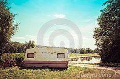 Old Caravan Standing Next To The Road In Poland Stock Photo - Image of trailer, retro: 120067578 Caravan, Poland, Sky, Stock Photos, Retro, Water, Blue, Image, Heaven