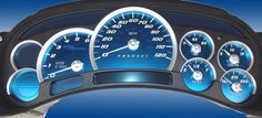 Chevrolet Silverado 120 Mph No Trans Aqua Edition Gauges With White Numbers by US Speedo - Lifted Chevy Trucks, New Trucks, Fj Cruiser Accessories, Auto Accessories, Chevy Silverado Accessories, 2007 Chevy Silverado, Dropped Trucks, Chevy Avalanche, Steel Gauge