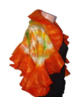 Felted scarf wrap shawl art  made of wool. Very soft and light. Hand dyed
