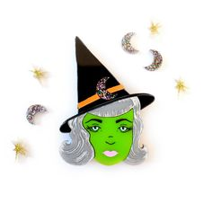 Wicked Witch Halloween Brooch
