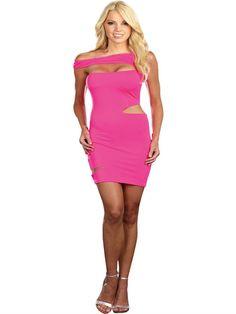 Off the shoulder dress. Off the shoulder stretch microfiber spandex dress has unique laser cut slashes. Neon Dresses, Pink Mini Dresses, Pink Dress, New Dress, Slash Costume, Slit Dress, Bodycon Dress, Mullet Wig, Halloween Costume Accessories