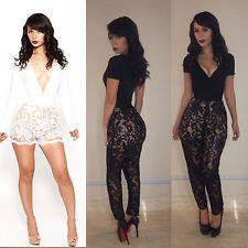 9763562f6aac Sexy Fashion Lace Club Bandage Bodycon Jumpsuits Women s Cocktail Party  Clubwear Birthday Outfit For Women