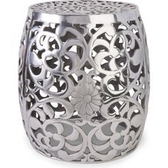 Aluminum Garden Stool w/ Floral Pattern #dynamichome #floral #flowers #garden #stool #seating #accent #table #silver #metal #metallic #pretty #side #livingroom #transitional #modern #decor #homedecor #interiors #interiordesign