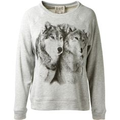 Sea Ny Light Grey Wolf Printed Cotton Sweater (16,395 INR) ❤ liked on Polyvore featuring tops, sweaters, light gray sweater, cut loose tops, long sleeve tops, sea, new york and long sleeve sweater