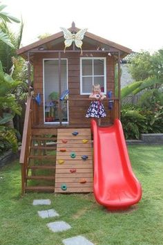 You can turn your backyard into a magical space where your children can enjoy plenty of fun activities. [Wooden Playhouse, Playhouse With Climbing Wall, Playhouse With Slide, Playhouse With Deck, Play Backyard Playhouse, Build A Playhouse, Backyard Playground, Backyard For Kids, Diy For Kids, Playground Ideas, Playhouse Ideas, Modern Backyard, Garden Kids