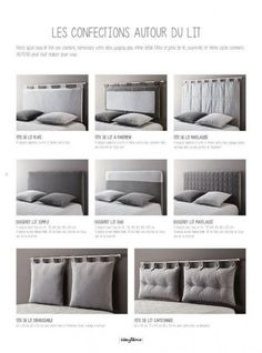 Catalogue Heytens en cours, Collection 2014 - interesting use of cushions and curtain rods to make a headboard Linen Bedroom, Home Decor Bedroom, Master Bedroom, Pillow Headboard, Headboards For Beds, New Room, Home Design, Apartment Living, Home Furniture