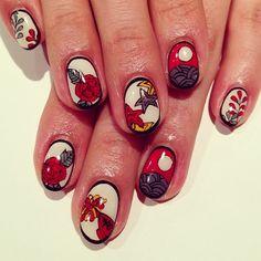 """Hanafuda"" art nails #avarice #art #kayo #design #nails #nailart #nailsalon #nailsalonavarice #hanafuda #japanese (NailSalon AVARICE)"